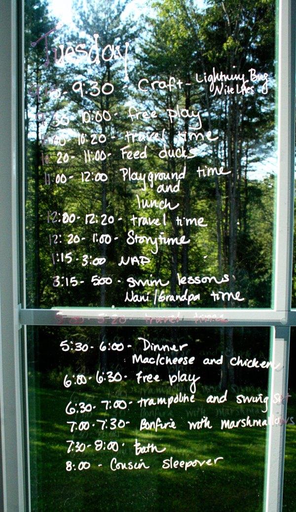 Cousin Camp Schedule